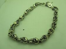 Pre- owned Genuine 925 Sterling Silver chain Men's skull necklace