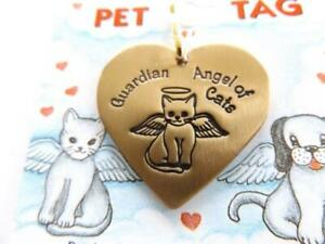 Guardian Angel of Cats Brushed Brass Heart Shaped Tag
