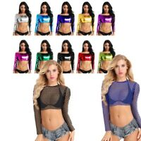 Women Sheer Fishnet T-Shirt Long Sleeve Tee Crop Top Party Blouse Vest Clubwear