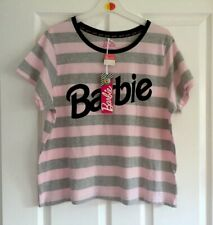 Ladies Women's Girls Primark Grey Barbie Pyjama PJ Top Shirt Size Large L 14-16