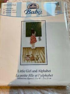 """Kit point de croix compté """"La petite fille et l'alphabet"""" - DMC Baby"""
