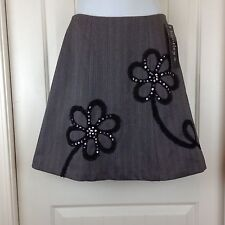 NWT Bentley Womens Size 2 Gray Black Sequined Floral Fully Lined A Line Skirt