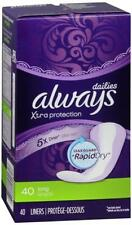 Always Dailies Xtra Protection 5x Drier 40 Long Wrapped Liners Set of 2