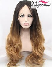Kryssma Ombre Blonde Lace Front Wigs for Women Natural Looking Glueless Brown 24