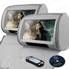 "New 2 piece 9"" Grey Car Headrest DVD Player Monitor Game CD Remote TV Radio"