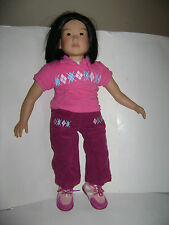 "MY TWINN GIRL AMERICAN POSEABLE ASIAN DOLL CLOTH & VINYL BODY 23"" PANTS SHIRT"