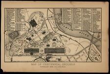 Centennial Exhibition Fairmount Park Philadelphia 1876 antique exhibition plan