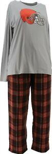 NFL Men's Pajama Set Long Slv Top Flannel Pants Browns XXXXL NEW A387683