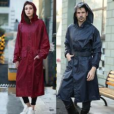 Unisex Hood Solid Hood Waterproof Belt Long Sleeve Raincoat Poncho Rain Coat