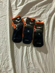 NWT Lot of 3 boys Nike baseball black socks active size 6-8