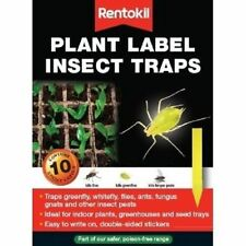 10 x Rentokil Plant Labels Sticky Yellow Insect Fly Traps flies ants fungus New