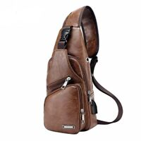 Men Crossbody Bags Messenger Leather Shoulder Bags Chest Bag With Headphone Hole