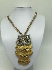 VINTAGE OWL NECKLACE SILVER & GOLD TONE