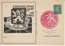 1941 WW2 Czech Exiled Forces in UK - 57th B'day of BENES - handstamp on P/C