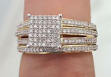 Yellow Gold Square Diamond Wedding Engagement Bridal Ring Band Set Ladies Pave