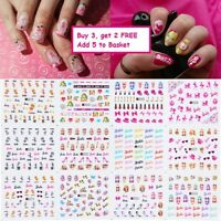 Nail Art Water Decals Stickers Transfers Barbie Doll Bows Hearts Neon Kawaii