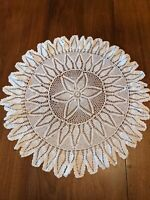 Large Hand Crocheted Vintage Ivory Doily Pineapple Pattern