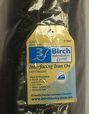 BIRCH BLACK IRON ON  INTERFACING: LIGHT WEIGHT