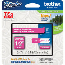 "Brother TZeMQP35 12mm 1/2"" white on berry pink TZ tape PT H100 P700 2030VP 2030"