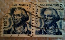 1966 U. S. Scott 1304 George Washington two used and cancelled 5 cent stamps