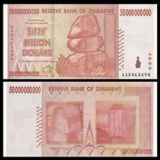 Zimbabwe 50 BILLION DOLLARS, 2008 circulated XF, P-87, 10 20 100 TRILLION SERIAL