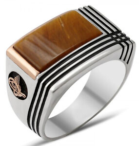 Solid 925 Sterling Silver Ottoman Tiger's Eye Stone Men's Ring