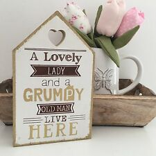 LOVELY LADY GRUMPY OLD MAN HUMOUR/ NOVELTY/ SHABBY  CHIC WALL HANGING PLAQUE