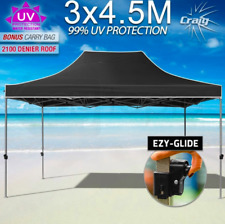 Black 3x4.5m Outdoor Gazebo Pop Up Marquee Tent Shade Camping Folding PVC 2100D