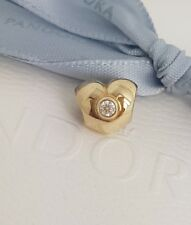 Authentic Pandora 14ct 14k Gold Diamond Heart Charm 750294D AS NEW Retired