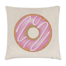Pink Strawberry Glazed Doughnut Linen Cushion Cover - Pillow Funny