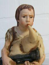 "Vintage Bisque Porcelain Roman Nativity Shepherd Bagpipe Christmas Lovely 6"""