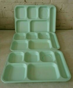 """3 Vintage Dallas Ware ~ P-71 Mint Green 14"""" x 10"""" Cafeteria Trays ~ Pre-Owned"""
