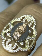14k solid real Gold Ring Mary Guadalupe manmade diamond 3.1g size 7 5 6 8 9 10
