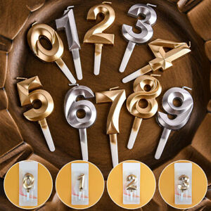 Digital Cake Candles Birthday Candles Gold Number Wedding Party Cake Toppers