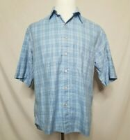 Burberry London Mens M Button Down Shirt Short Sleeve Plaid Cotton Blue