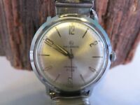 Men's Vtg 1950's Helbros Invincible Silver-Tone Face Wind-Up Watch