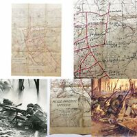 WWI Meuse-Argonne Offensive Line Movement AEF 1st Infantry Division Map US Relic