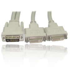 1.8m DVI-D Y-Splitter Cable Lead Wire 1 x Male to 2 x Female GOLD Pins M-F -GREY