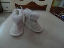 Child of mine by Carter's 0-3 month white bootie with faux fur edge