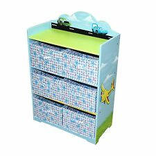 Hand Painted Blue Boy Cars Toy Shoes Storage Organizer Box Kids Furniture
