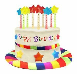 Birthday Cake Rainbow Hat W/9 Candles One Size Party Hat With Candles Multi Star