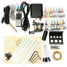 Complete Tattoo Kit With Tatoo Machine Gun 14 Color Inks Power Supply Cord Set