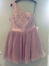 Lipsy VIP One Shoulder Pleated Prom Dress, Mink, Size 16, Bnwt