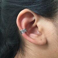 925 Sterling Silver Bohemian Ear cuff Earring No Piercing Clip on Adjustable NEW