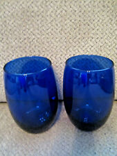 Cristar pair glass Lexington cobalt blue 12 oz drinkware glasses