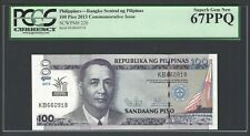Philippines 100 Piso 2013 P220 Uncirculated Graded 67