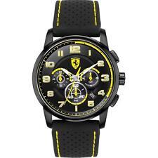 Brand New Ferrari Men's Heritage Black & Yellow Silicone Strap Watch 0830061