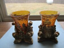 Pair of Amber Crackle Glass Hurricane Candle Holder w/Pedestal Base by Elements