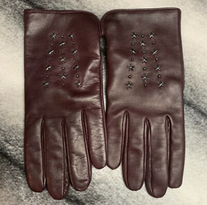 Coach Star Studded Leather Burgundy Gloves Women