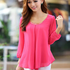 Korean Fashion Women's Loose Chiffon Tops Long Sleeve Shirt Casual Blouse Rose M